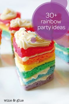 What kid wouldn't want a brightly colored, rainbow-themed birthday party? This collection of rainbow party ideas is full of easy DIY ways for you to make your little one feel special on the big day. This mini heart-shaped rainbow birthday cake idea is a fun and yummy treat that your toddler will love. Check out the rest of this post to find even more inspiration about food, decorations, and party games.