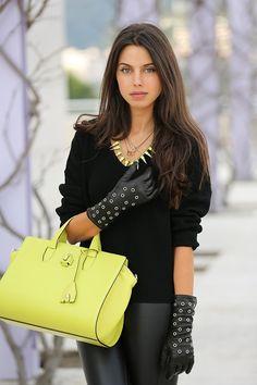 Black & lime, gorgeous girl. Alexander Wang Pelican Satchel in acid yellow