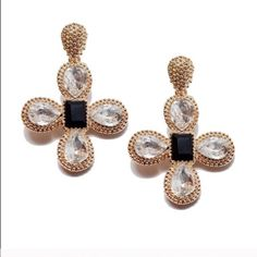 18k Crystal Statement Earrings, NWT Elegant Moravian cross design with gorgeous crystals.  The perfect size and shape for occasions and casual wear.  18k gold plated, high quality finish, brand new!  Comment below to reserve yours!  Photos courtesy of T&J Designs. T&J Designs Jewelry Earrings
