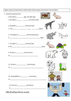 Students write the correct comparative form - ESL worksheets