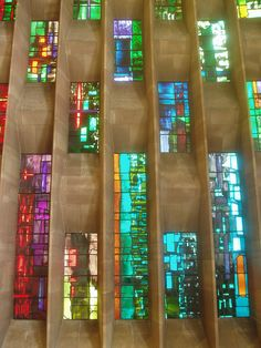 Coventry Cathedral. the beautiful stained glass of the new cathedral i've walked past every day for the last 3 years