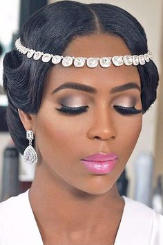 It is not a difficult task to pick the suitable black women wedding hairstyles.We are offering some interesting wedding hairstyles that looks great. Bridal Hair And Makeup, Bride Makeup, Glam Makeup, Hair Makeup, Black Wedding Makeup, Makeup Bags, Eyebrow Makeup, Bridal Beauty, Makeup Geek