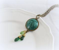 Green Imitation malachite polymer clay neckalce by JuliaCreaStyle