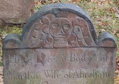 puritan gravestone art   Gravestone of Martha Parson, Morristown