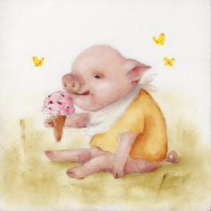 Ice Cream Pig Painting Canvas Print / Canvas Art by Junko Van Norman