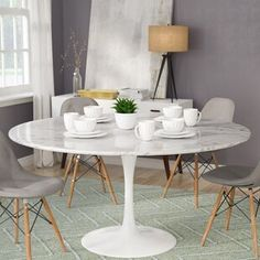 Langley Street Julien Artificial Marble Round Dining Table | Wayfair