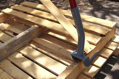 Our favorite method to disassemble pallets is with this tool – a Duckbill Deck Wrecker we got on Amazon. This tool lifts those boards easily, and you can take out the nails with a hammer.