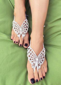 Bridal Barefoot Sandal Papillon Blanc Crystal by AlbertsonChapel