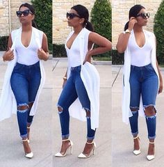 New Skinny Jeans Women Denim Pants Holes Destroyed Knee Pencil Pants Casual Trousers Black White Stretch Ripped Jeans Sexy Outfits, Chic Outfits, Summer Outfits, Fashion Outfits, Jeans Fashion, Nike Outfits, Fashion Mode, Look Fashion, Autumn Fashion