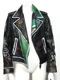Techno-grunge futuristic hologram moto jacket glows by ZEF2DEATH