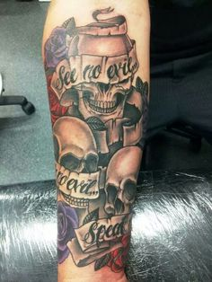This will be added to my sleeve, see no evil, hear no evil, speak no evil, skulls and roses