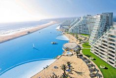 In December of 2006, this gigantic swimming pool was officially documented by the Guiness Book of World Records as the world's largest swimming pool. The pool is located in Algarrobo, Chile at the San Alfonso del Mar resort.