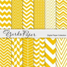 Yellow Chevron Digital Paper Pack Chevron Scrapbook by YarkoPaper