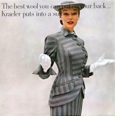 1951 Liz Pringle in striped  worsted wool suit by Kraeler, Harper's Bazaar.