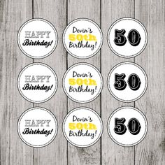 Black and Gold 50th Birthday Party Cupcake Toppers via Etsy