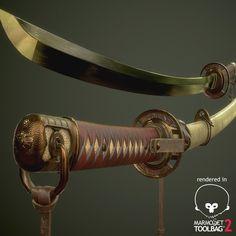 Japanese Sword, Naoki Taji on ArtStation at https://www.artstation.com/artwork/japanese-sword