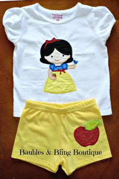 Snow White Inspired Embroidered Applique Childrens T-Shirt and Shorts Set on Etsy, $38.00