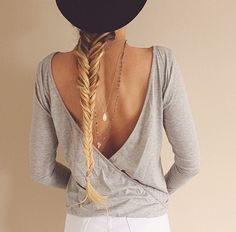 Deep V back and hang necklaces
