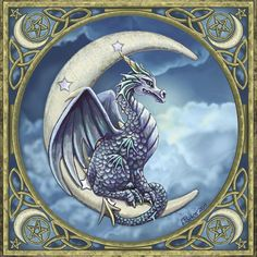Dragon on Moon -you are looking at a stunning Lisa Parker card.  It features a stunning Blue dragon upon a crescent moon within a border of Celtic knotwork, stars and pentagrams.