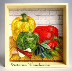 Kitchen picture - Festive quilling picture - Bell peppers and olives