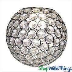 "Chandelier, Table Decor, Lamp or Vase Topper ""Tatiana"" - Crystal Beaded Sphere 6 1/2"""