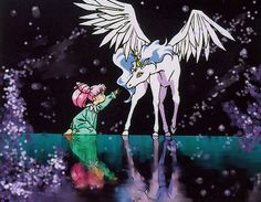 Sailor Moon. Rini and Pegasus