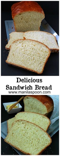 A flavorful and tender bread that's ideal for making sandwiches, toasts or bread pudding. With a deep brown crust and soft interior this bread is sure to become your family's favorite. Delicious Sandwich Bread | manilaspoon.com