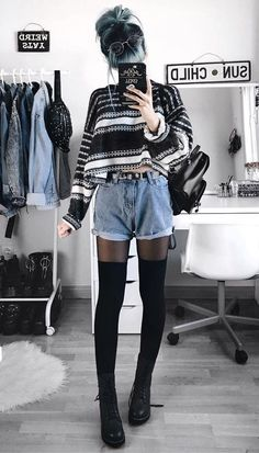 Outfits, winter grunge, cute grunge outfits, winter shorts outfits, knee so Grunge Winter Outfits, Winter Shorts Outfits, Winter Grunge, Edgy Outfits, Mode Outfits, Short Outfits, Fall Outfits, Fashion Outfits, Grunge Fashion Winter