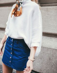 The denim skirt is a fashion staple this year, as is the necktie scarf. So Parisian, and so timeless!