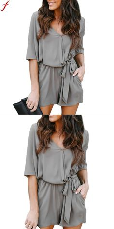 baffdff4a1f3 Rompers womens jumpsuit 2018 womens sexy v neck playsuit summer half sleeve  bodycon jumpsuit shorts overalls for women macacao