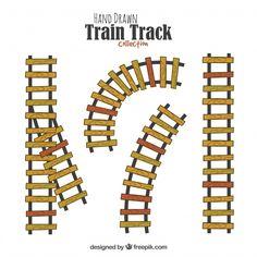 Hand drawn train track Free Vector