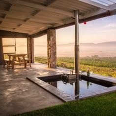 This patio in Botrivier in the Overberg region is the epitome of a happy place. #patio #dreampation #patiowithaview