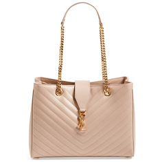 02a5b5ef604 Saint Laurent  Monogram  Grained Leather Shopper (€2.290) ❤ liked on  Polyvore featuring bags