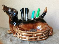 Dachshund pen holder with change tummy