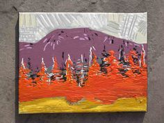 Original Acrylic Painting Landsape Orange Trees
