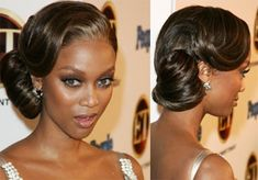 Amazing!  Looks as though they fastened a pony then wrapped the tail towards Tyra's ear and pinned.  Beautiful!