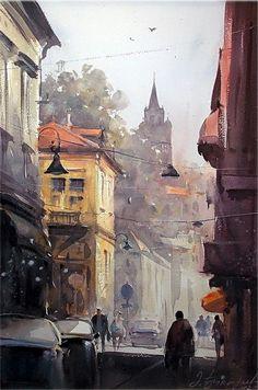 Dusand Jukaric, Morning in Zemun, Watercolor 38x56 cm
