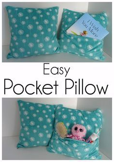 Make a Cuddly Soft Pocket Pillow - Perfect for Gifts or Sleepovers Sewing Projects For Kids, Sewing For Kids, Craft Projects, Sewing Hacks, Sewing Tutorials, Sewing Crafts, Sewing Ideas, Sewing Patterns, Sewing Diy
