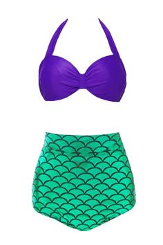 This new summer swimsuit is ready for you. A cute two-piece high waist bikini bathing suit features popular mermaid style, bow top design in solid purple, adjustable halter and back tie, with a vivid fish scale printed bottoms, a green high waist bottoms. No underwear but removable bra paddings for better shape! More from www.azbro.com