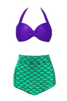 Women's Pretty Mermaid Two Piece High Waist Swimsuit - OASAP.com