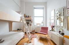 Julie Turkel Abrahamson's Stylish, Kid-Friendly Home In New York | theglitterguide.com featuring Oeuf Perch Bunk bed. http://www.oeufnyc.com/index.php/furniture.html