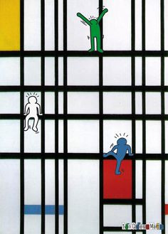 Mixing styles of two different artists: Keith Haring + Piet Mondrian love this.....hmmmm? Art fair?