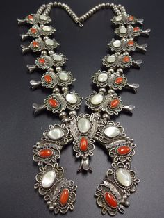 Vintage NAVAJO Sterling Silver CORAL & Mother of Pearl SQUASH BLOSSOM Necklace | Jewelry & Watches, Ethnic, Regional & Tribal, Native American | eBay!