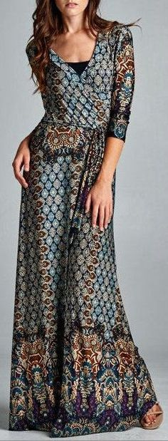≫∙∙boho wrap maxi dress∙∙≪. I don't love the wrap style but the pattern is great!                                                                                                                                                      More