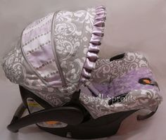 Grey Damask/Lilac & Grey Stripe/Lilac Rosette by smallsproutsbaby, $139.00