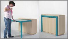 Neat pullout desk with colour splash.