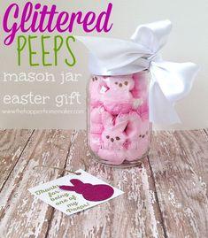DIY Glittered Peeps Easter Mason Jar Gift