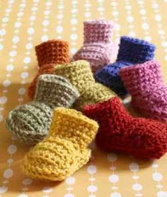 Miss Julia's Vintage Knit & Crochet Patterns: Free Patterns - 30 Baby Booties to Knit - Crochet   A Rainbow of Booties♥
