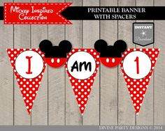 INSTANT DOWNLOAD Mouse I am One Highchair by DivinePartyDesign