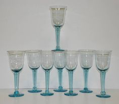 Set of 8 Light #AQUA #BLUE Long Stem WINE Water #Goblets HAND BLOWN Mexican